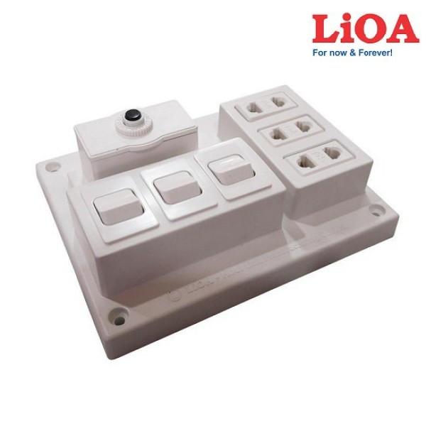 Bảng điện nổi 15A có 3 ổ cắm 3 công tắc LIOA B-CB15A3C