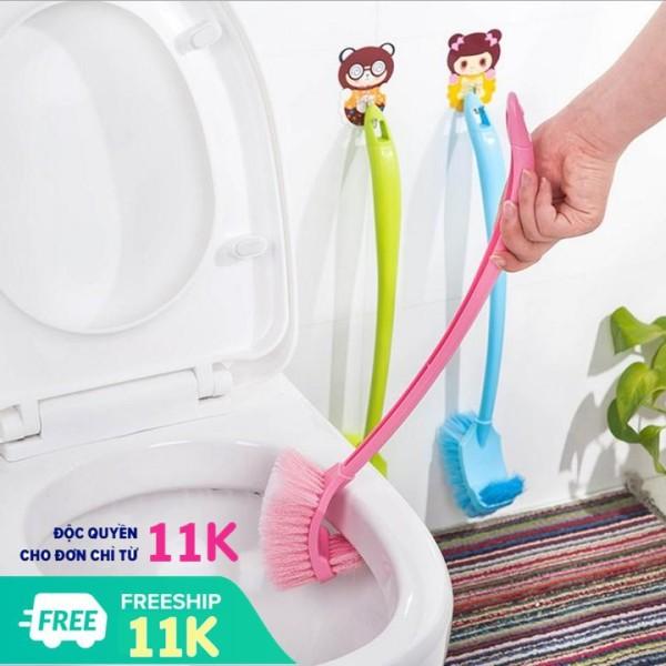 Chổi cọ rửa toilet bồn cầu vệ sinh Dụng cụ bàn chải làm sạch toilet nhà tắm 2 đầu tiện dụng VHT1455