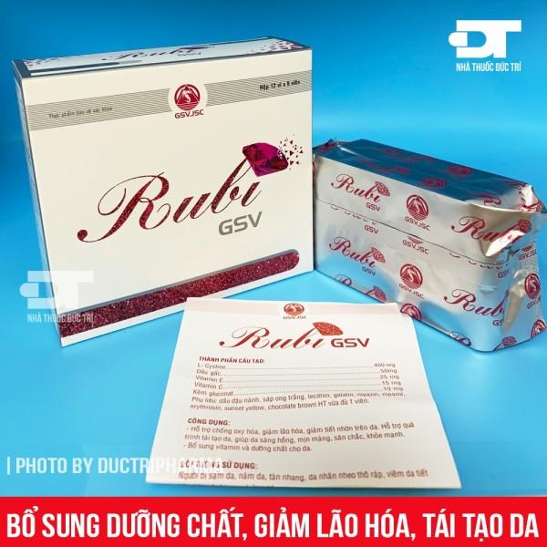 Rubi GSV - Viên uống hỗ trợ chống oxy hóa,giảm lão hóa, bổ sung vitamin và dưỡng chất cho da sạm, nám, tàn nhang & da mụn
