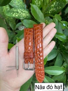 [TK31] Dây đồng hồ da cá sấu, HA T TRO N,màu NÂU ĐỎ,phát hiện giả ĐỀN 10 LẦN TIỀN,TẶNG KÈM cây tháo lắp dây, dây đồng hồ da cá sấu nam, dây đồng hồ da cá sấu nữ thumbnail