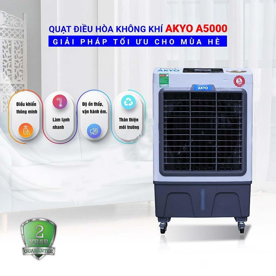 [TẶNG 2 CỤC ĐÁ KHÔ+GIẢM 100K] Quạt điều hòa không khí AKYO Inverter Model A-5000 new 2019, Công suất 150W, bảo hành 24 tháng-YANME SHOP