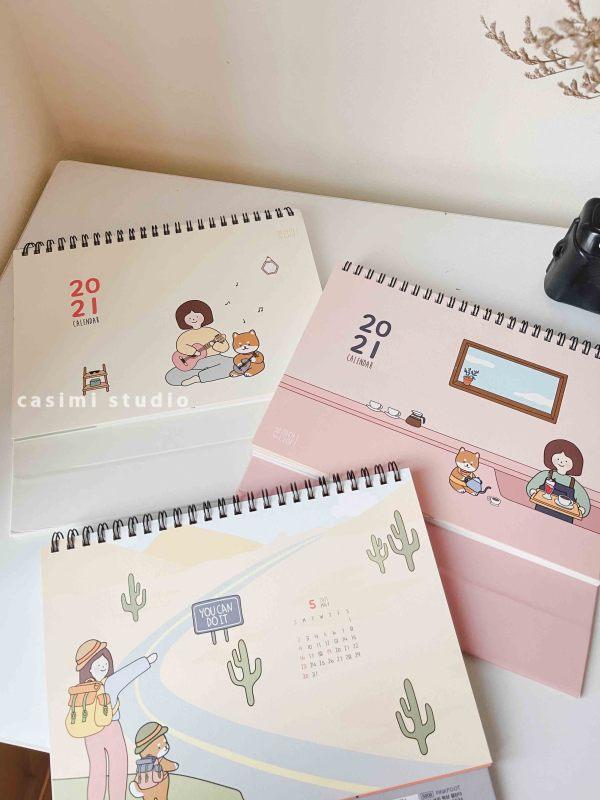 [FOLLOW US GIẢM 30K] Lịch để bàn 2021 The Girl xinh cute size A5 20x17cm, giấy bìa cứng màu pastel phong cách Hàn Quốc Casimi Decor