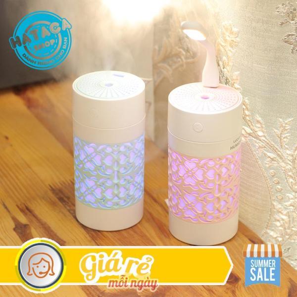 Máy phun sương tạo ẩm mini kiêm đèn ngủ 7 màu tặng quạt và đèn LED USB
