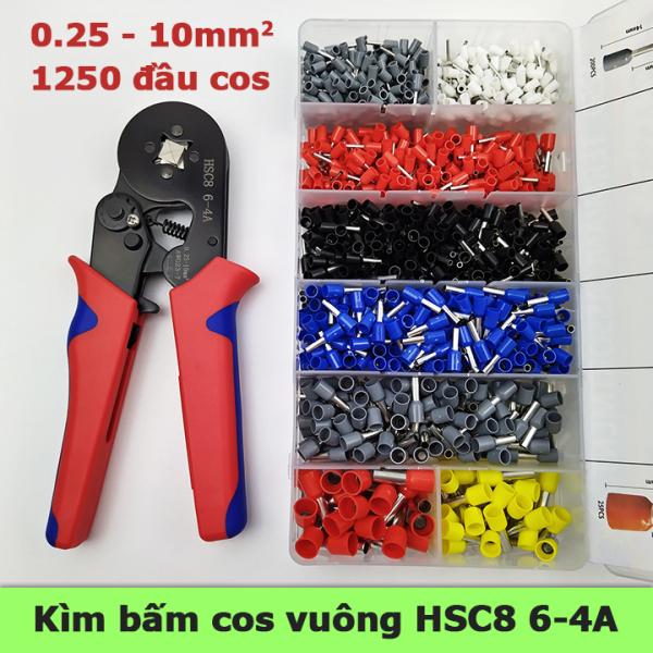 Kìm bấm cos vuông HSC8 6-4A tự điều chỉnh kèm 1250 đầu cos đủ loại cos ống tròn cos pin