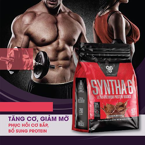 BSN SYNTHA-6 10.05 LBS - 4,56 KG - Tăng cơ, giảm mỡ cho Thể thao, Gym, Yoga, Fitness + Khăn tập sợi tự nhiên cao cấp