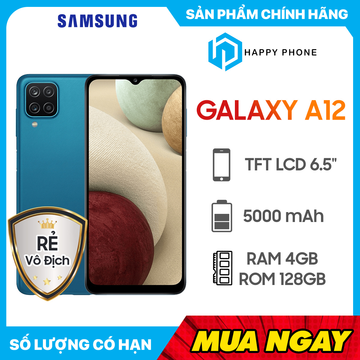 [Trả góp 0%] Điện Thoại Samsung Galaxy A12 (4GB/128GB) - Hàng chính hãng, mới 100% | Nguyên seal | Bảo hành 12 tháng