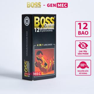 Bao cao su BOSS 4in1 Gân Gai Kéo dài thời gian quan hệ - BCS Boss Hộp 12 bao - GenMec thumbnail