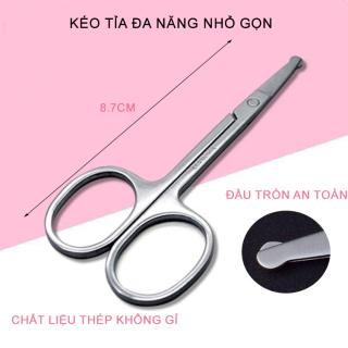Kéo tỉa lông mũi, cắt lông mũi đầu tròn bằng thép không gỉ, nhỏ gọn, an toàn khi sử dụng, dễ dàng mang theo đi du lịch, đi chơi. thumbnail