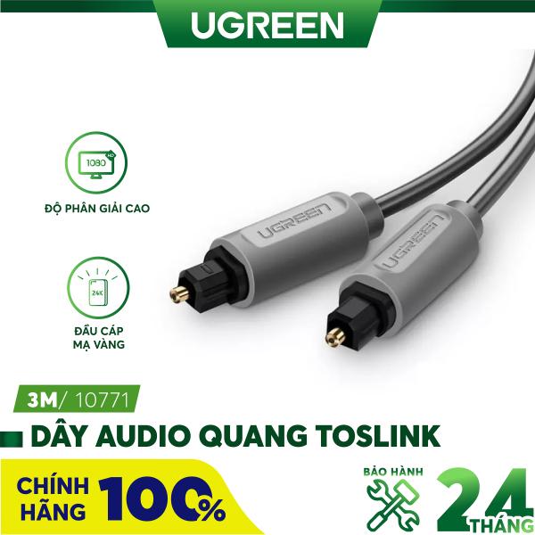 Bảng giá Dây audio quang Toslink truyền tải tín hiệu âm thanh với độ phân giải cực cao Hỗ trợ âm thanh Dolby Digital (5.17.1) AC3; DTS UGREEN AV122 - Hãng phân phối chính thức Phong Vũ