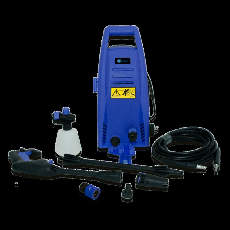 Máy xịt rửa xe cao áp Kachi mk192 1200w, có thiết kế nhỏ gọn, có bánh xe nên dễ dàng di chuyển đến mọi nơi, các tia nước áp lực cao giúp vệ sinh mọi vết bẩn bám trên xe