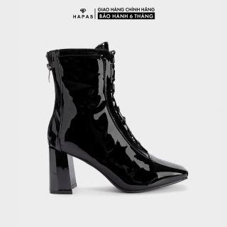 Giày Bốt Nữ Boot Da Bóng Dây Buộc 7Phân HAPAS - BOT823