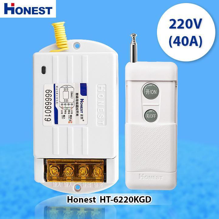 Bộ Công Tắc Điều Khiển Từ Xa 1000M xuyên tường Honest HT-6220KG-1 40A/220V khoảng cách 100-1Km (Trắng) công tắc điều khiển từ xa