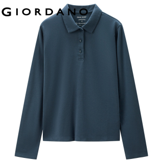 GIORDANO Women Polo Shirts Simple Solid Color Comfy Cotton Polo Shirts Classic Collar Long Sleeves Casual Polo Shirts 05311790 thumbnail
