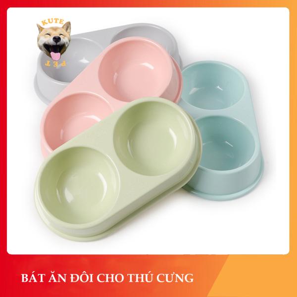 Bát ăn đôi tròn cho chó mèo thú cưng chất liệu nhựa cao cấp nhiều màu sắc