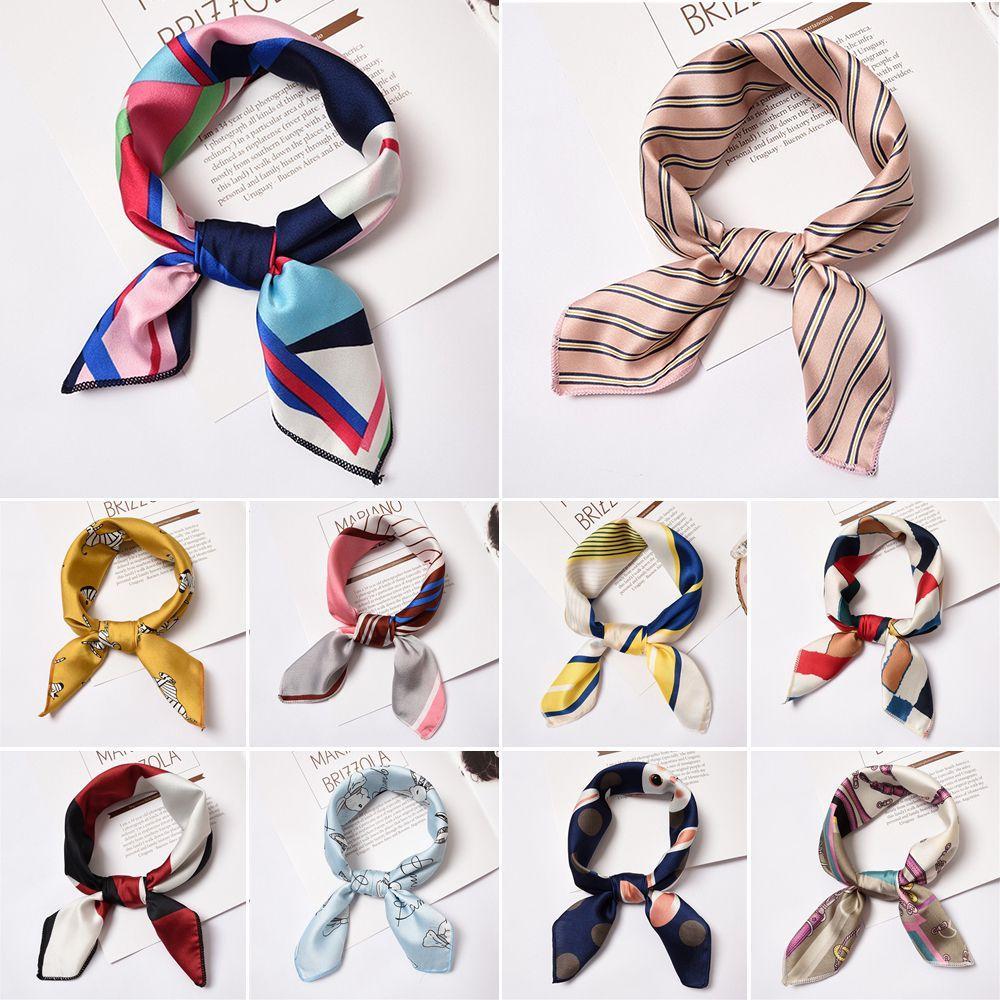 Giá bán 1* Fashion Gifts Elegant Small Vintage Silk Feel Satin Square Scarf Hair Tie Band Head Neck