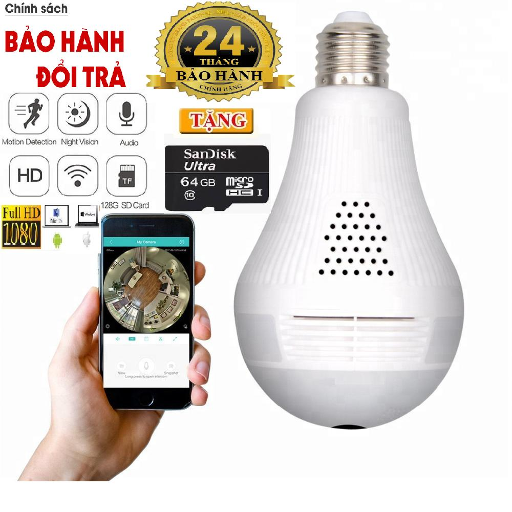 (Tặng Kèm Thẻ Nhớ 64GB Trị Giá 300k - BH 24 THÁNG 1 ĐỔI 1 TRONG 14 NGÀY) Camera wifi bóng đèn Full HD-2.0MP xem 360 độ, 3 led phát sáng+ 01 đui đèn cao cấp BH 2 Năm Nhật Bản