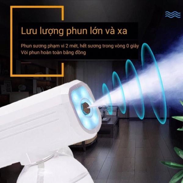 (LOẠI 1) Súng Phun Sương Cầm Tay Máy Khử Trùng Nano 800ml Tích Hợp Đèn Xịt Diệt Khuẩn Tiệt Trùng Bằng Tia UV Diệt 999% Vi Khuẩn Máy Khử Trùng Cho Văn Phòng/Xe Hơi/Gia Đình Công Suất Lớn Sạc Cổng USB Tiện Dụng