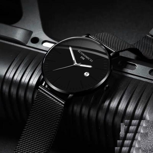 Nơi bán Đồng hồ nam dây thep lụa đen ECONOMICXI chạy lịch ngày cao cấp (Full hộp) ECNI02