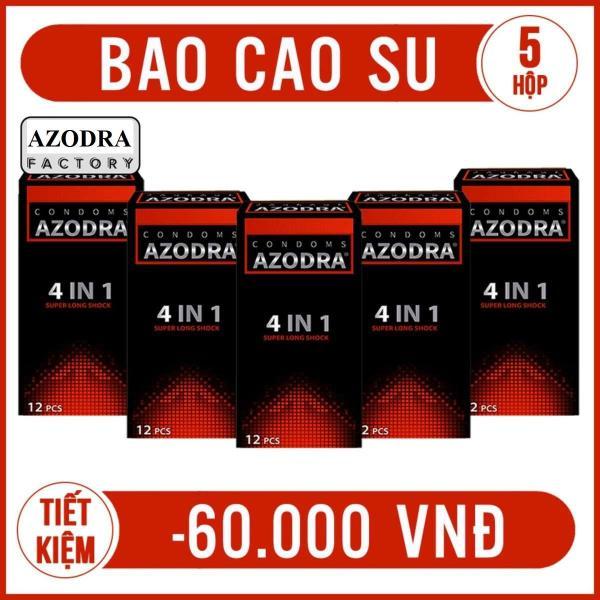 Combo 5 hop Bao Cao Su Azodra Tổng Hợp Gân, Gai, Mỏng, Kéo Dài Thời Gian Quan Hệ ( hộp 12 chiếc )Cam ket chinh hang 100%