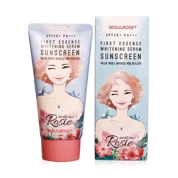 Kem Chống Nắng Rosie SeoulRose First Essence Whitening Serum Sunscreen Spf45+ PA+++ 45g - Lamicare