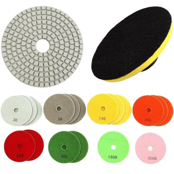 18 Pcs 3 Inch Thickening Diamond Water Mill Piece Diamond Polishing Pads with Polishing Disc