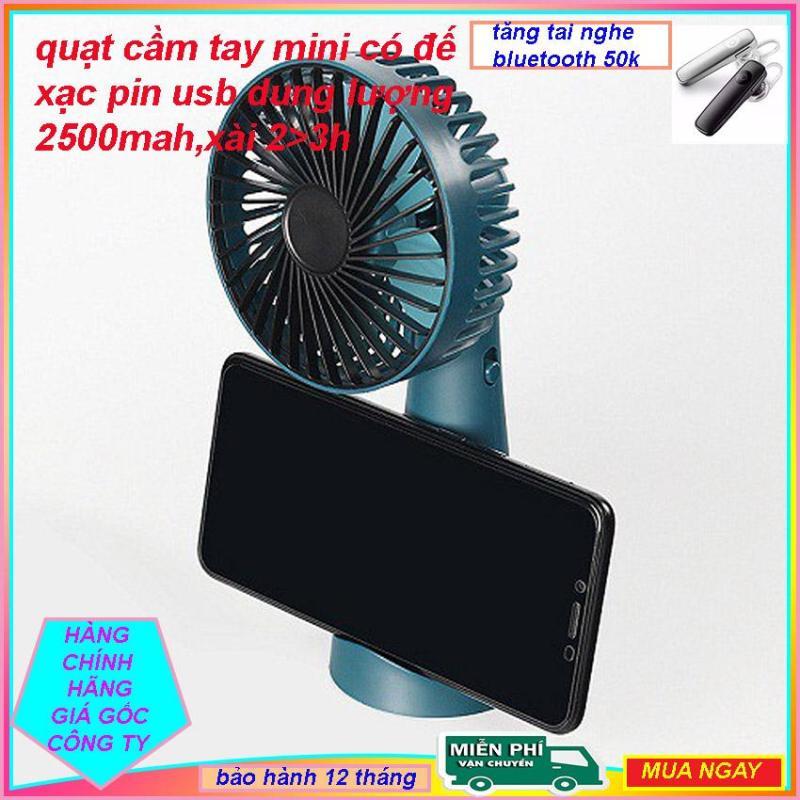 quạt mini cam tay tích điện có đế xac bin usb  1500mah ecoking,quạt mini,quạt cầm tay,quat mini,quat tan nhiet,quat usb