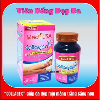 [Hộp 60 viên] Viên Uống Trắng Da Toàn Thân MedyUSA COLLAGEN +C -Với thành phần Collagen 120mg.sữa ong chúa, nhau thai cừu- giúp chống lão hóa, giảm thâm nám,ngăn ngừa nếp nhăn , tàn nhang 6