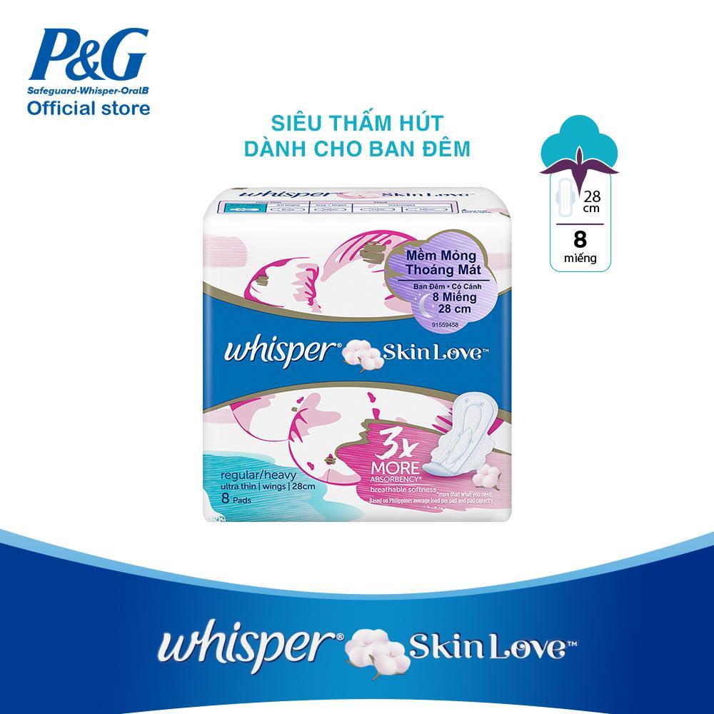 Băng vệ sinh Whisper Skin love mặt bông siêu mỏng cánh ngày nhiều/đêm gói 8 miếng (28cm) cao cấp