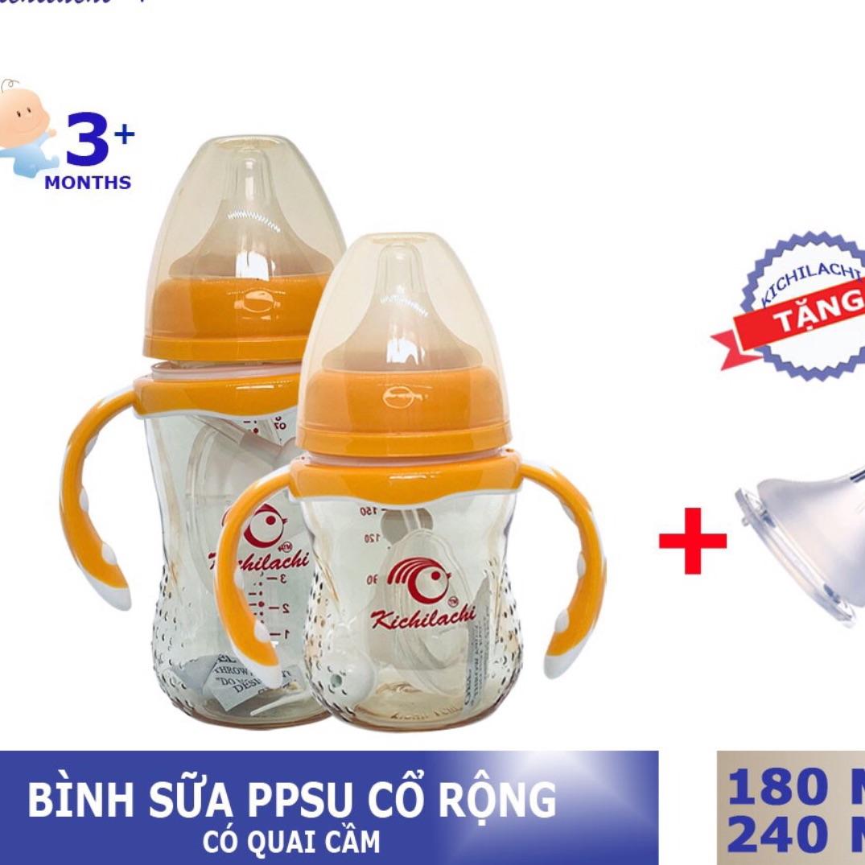 Bình Sữa PPSU Kichilachi Cổ Rộng 240ml Tặng Núm Ti Thay Thế Có Giá Rất Cạnh Tranh