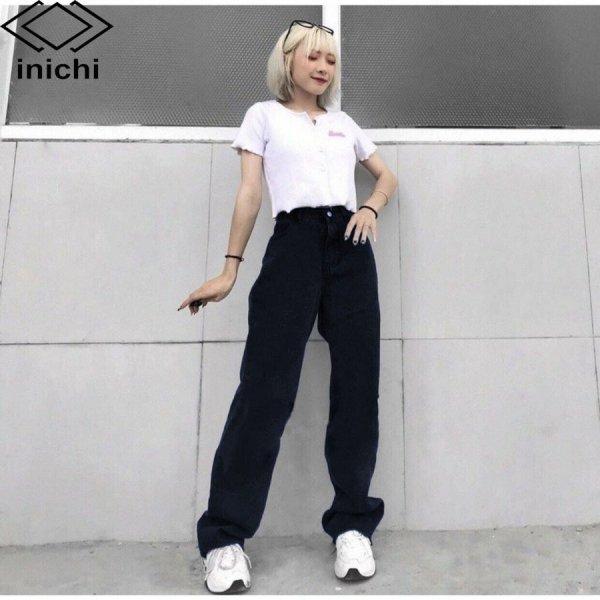 Quần Jean nữ ống rộng SIMPLE JEAN Q855 lưng ôm chất đẹp - INICHI STORE shop chuyên quần jean nữ