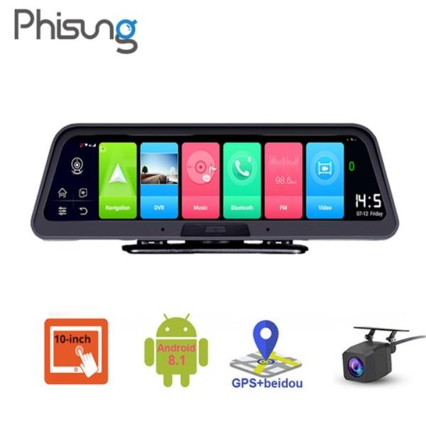 Camera hành trình đặt taplo ô tô xe hơi cao cấp thương hiệu Phisung Q98 tích hợp 4G Wifi GPS 10 inch