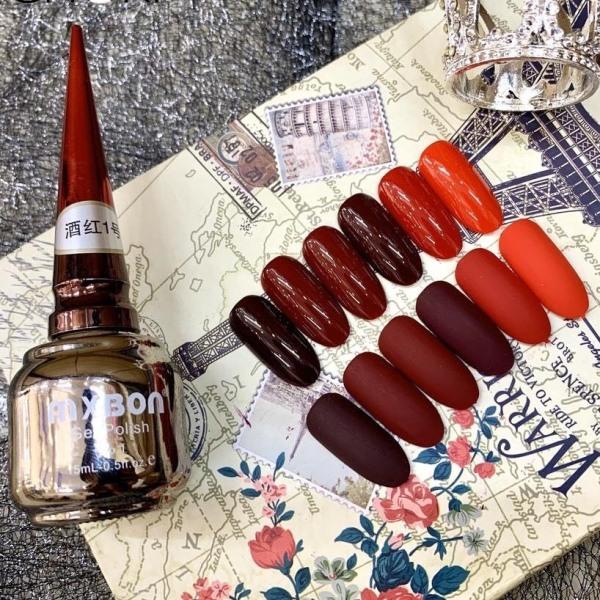 Set sơn móng tay mxbon đỏ 6 màu chai 15ml cực đặc bóng