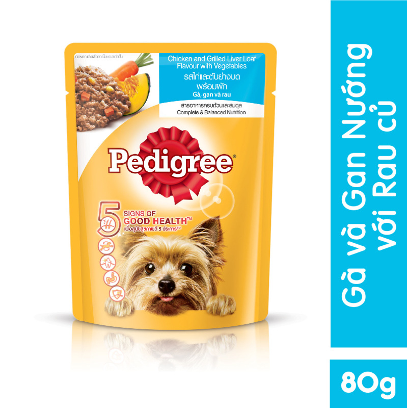 Thức ăn cho chó lớn dạng sốt Pedigree vị gà, gan và rau 80g