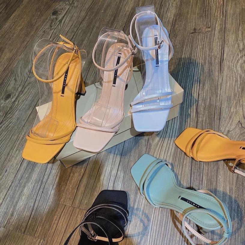 Giày cao gót 2 quai chéo gót bệt 7p CG-0423 giá rẻ