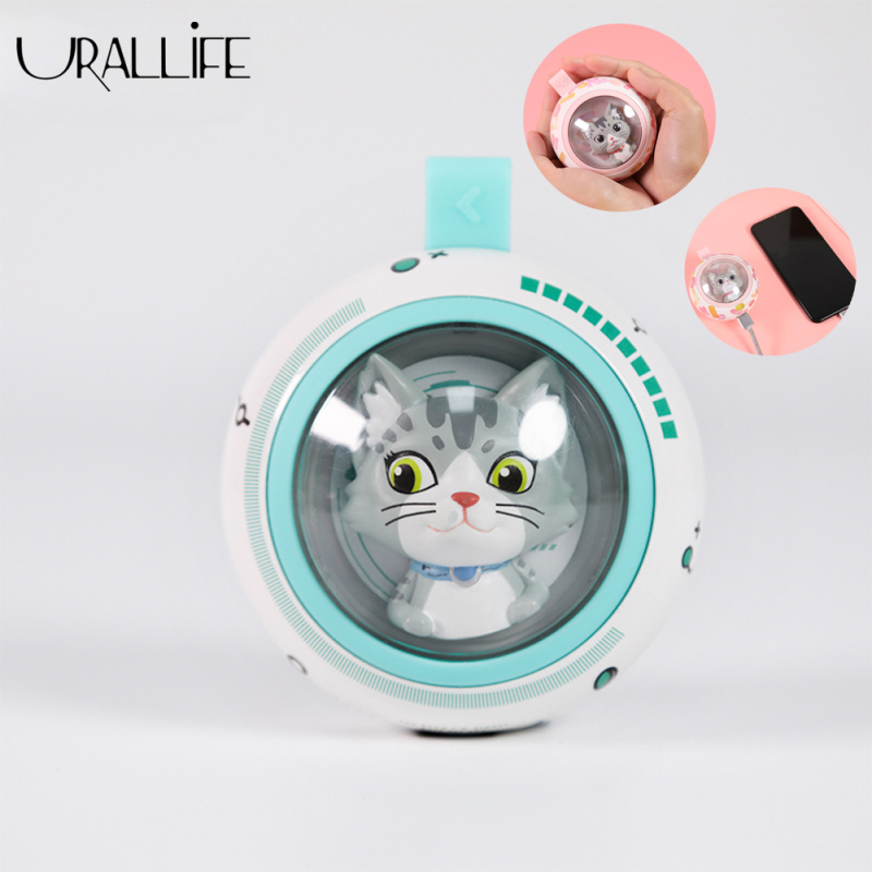 Urallife UFO.CAT Hand Warmer Cute Cat Design Mini Portable High Temperature Resistance Hand Warmer With LED Breathing Lamp USB Rechargeable Travel Home Hand Warmer For Girls