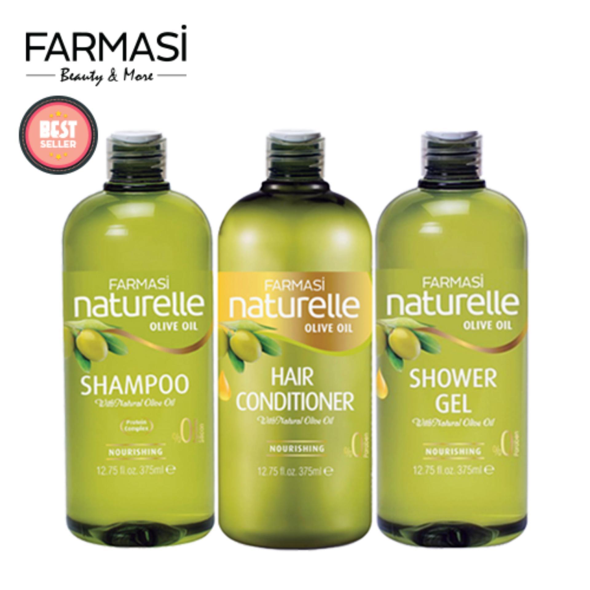 Bộ 3 Dầu Gội, Dầu Xả và Sữa Tắm Chiết Xuất Olive Farmasi