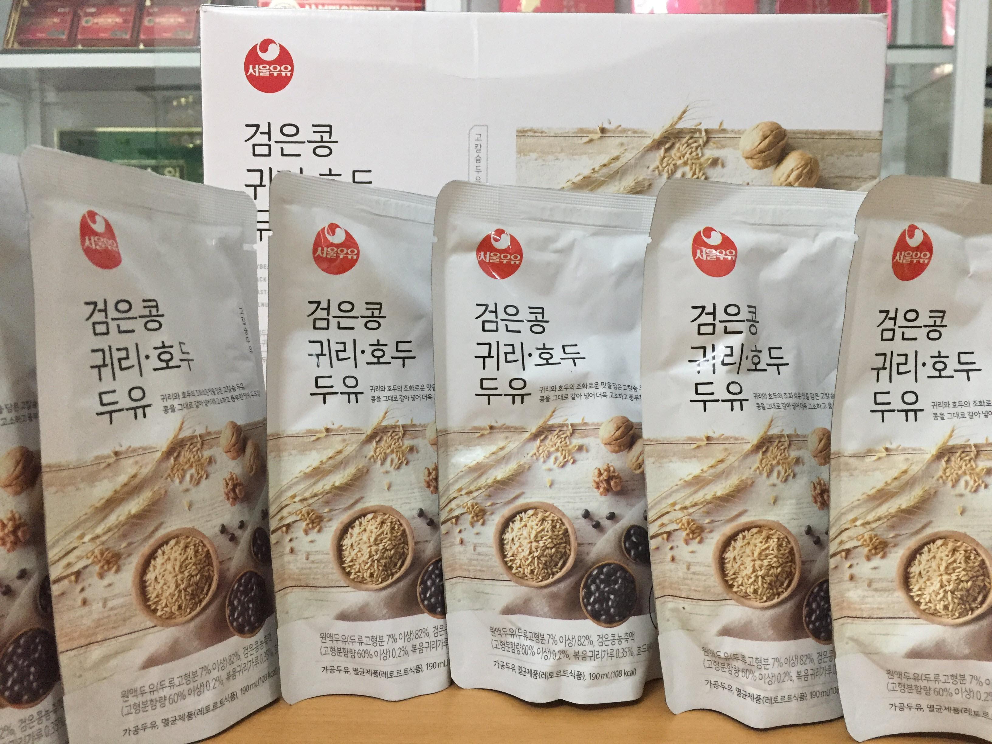 [Seoul Milk] - Sữa Hạt Óc Chó - Hạnh Nhân - Yến Mạch 190ml (5 bịch) - Sữa Hạt số 1 Hàn Quốc