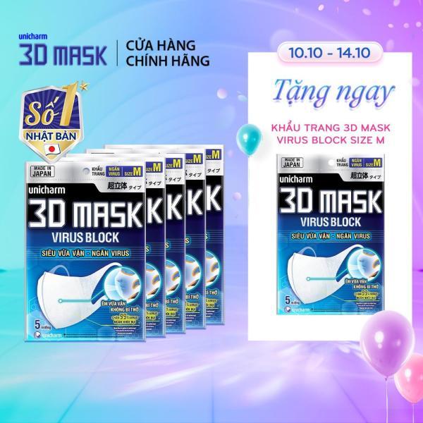 [Tặng 1 gói Khẩu trang Virus]Combo 5 gói Khẩu trang ngăn vi khuẩn Unicharm 3D Mask Virus Block size M gói 5 miếng (Ngăn được bụi mịn PM2.5)