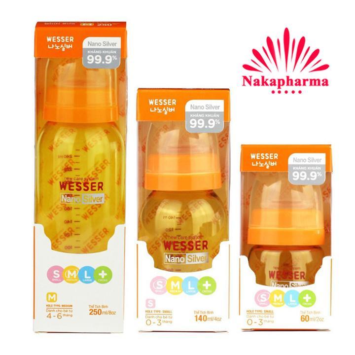 ✅ Bình sữa Wesser Nano Silver cổ hẹp 60ml, 140ml,...