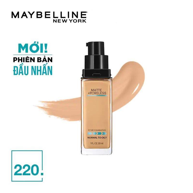 Kem nền mịn lì Fit Me Maybelline 220 Natural Beige Matte + Poreless Foundation 30ml (có vòi pump) nhập khẩu