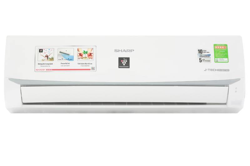 Máy lạnh Sharp Inverter 1 HP AH-XP10WMW-Tiết kiệm điện lên đến 65% nhờ công nghệ J-Tech Inverter và chế độ Eco-Công suất tiêu thụ:0.8 kW/h-Công nghệ kháng khuẩn khử mùi:Công nghệ lọc không khí Plasmacluster ion-Bảo hành 12 tháng
