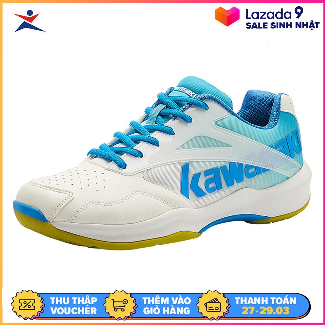 Giày cầu lông Kawasaki K-171 chuyên nghiệp nam nữ, để kếp, chống lật cổ chân, màu trắng xanh, giày đánh cầu lông, giày chơi bóng chuyền
