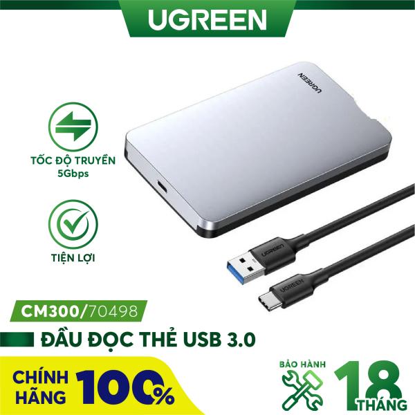Bảng giá Hộp đựng ổ cứng 2.5 inch SSD HDD chuẩn SATA hỗ trợ ổ cứng lên đến 6TB 2 loại vỏ nhôm và nhựa cao cấp kích thước 128x82x14mm UGREEN US221 CM300 - Hãng phân phối chính thức Phong Vũ
