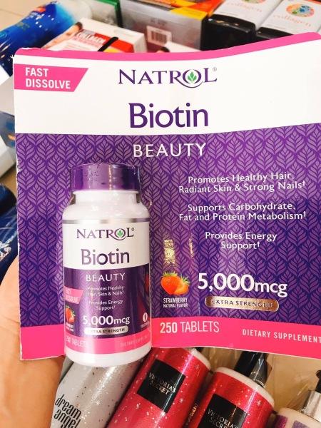 Viên ngậm khỏe tóc biotin Natrol 250 viên Mỹ giá rẻ