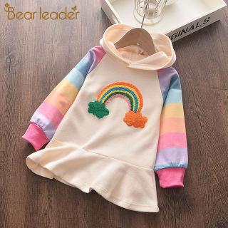 Bear Leader Girls Dress 2019 Thời Trang Mới Đầm Công Chúa Giản Dị Đầm Dệt Kim Dài Tay Cầu Vồng Đầy Màu Sắc Cổ Tròn Trẻ Em Váy Cô Gái Ngọt Ngào Trùm Đầu Hoa Văn Sọc Ruffles Quần Áo Trẻ Em Cho 2-6Y