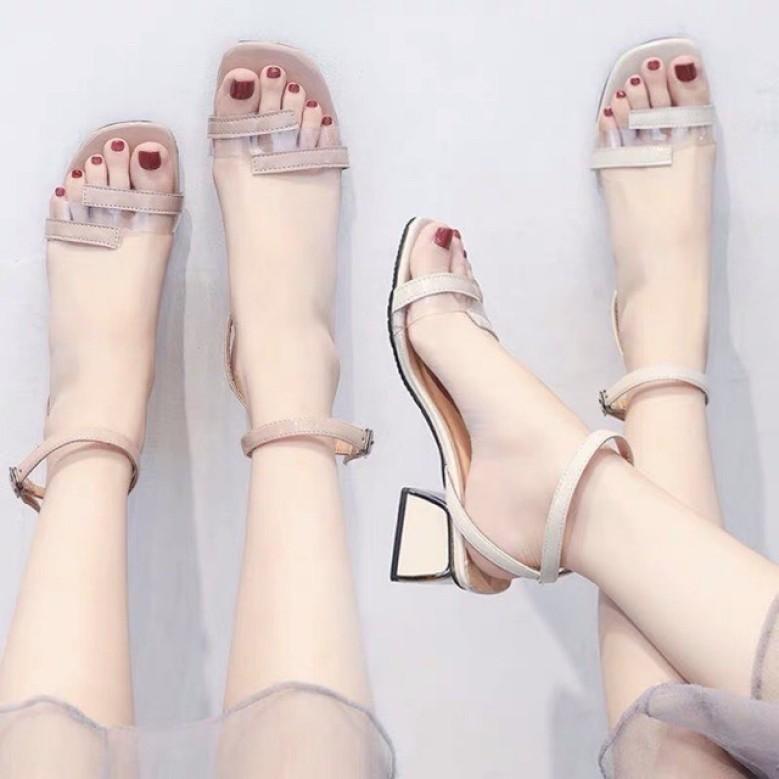 Sandal giày cao gót nữ phối mica siêu xinh hot nhất cao 6cm MÀU KEM - 198 giá rẻ