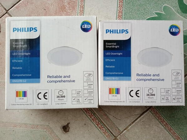 Đèn PHILIPS LED Âm trần Tròn DN027B G2 7w  D90,D100 Trăng, vàng, trung tính