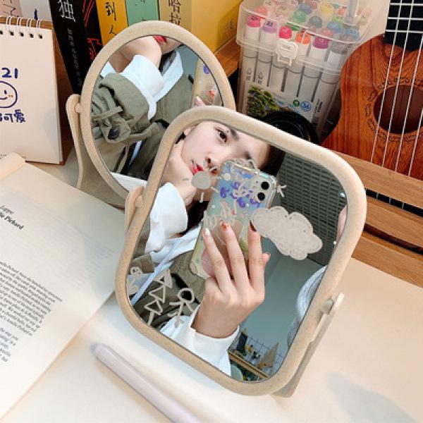 Gương để bàn trang điểm xoay 360 độ, gương trang điểm 2 mặt xoay, gương lúa mạch dễ thương, nhỏ gọn, bền đẹp dành cho các nàng, Huy Linh