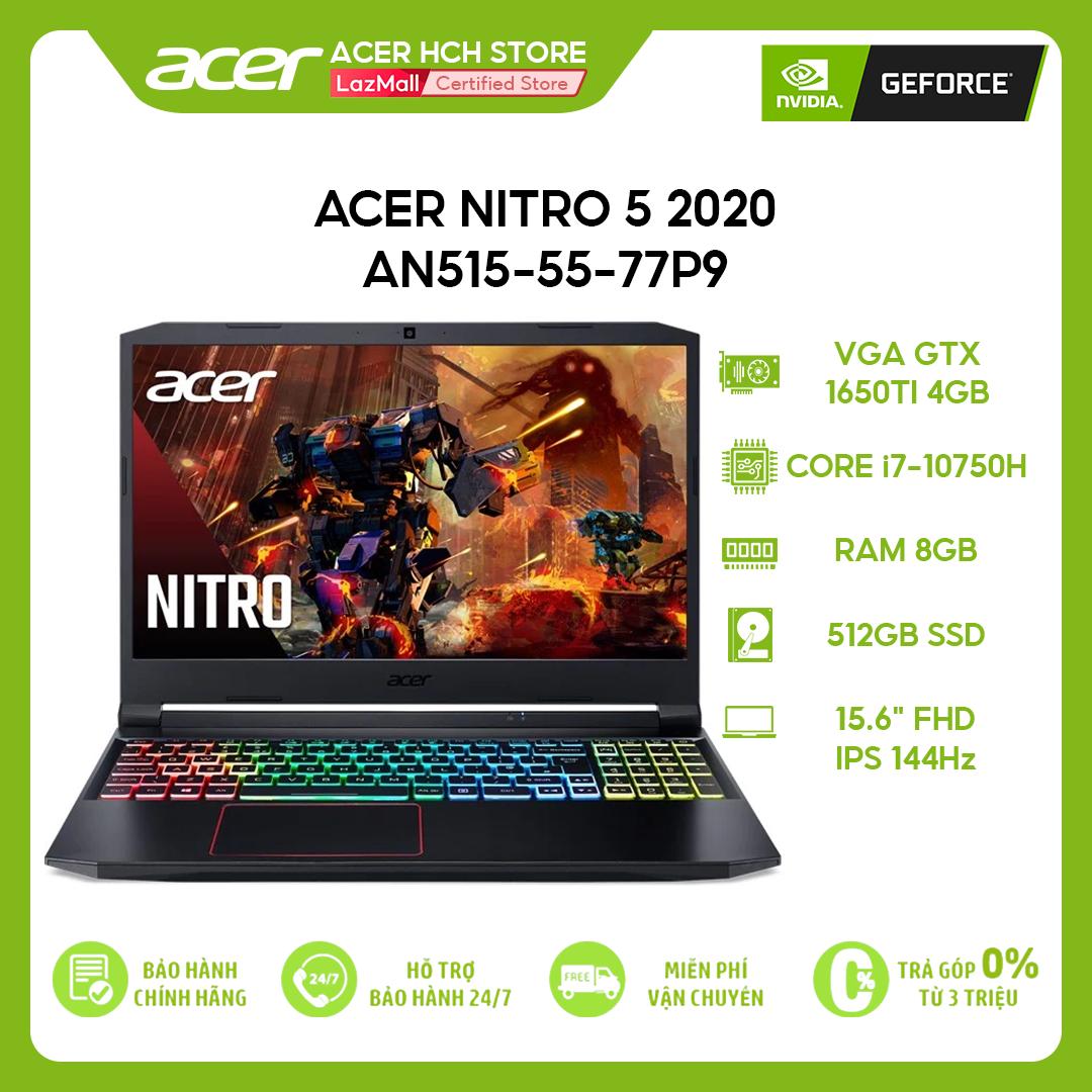 [VOUCHER 10% từ 27-29.03] Laptop Gaming Acer Nitro 5 2020 AN515-55-77P9 i7-10750H   8GB   512GB   VGA GTX 1650Ti 4GB   15.6'' FHD 144Hz   Win 10