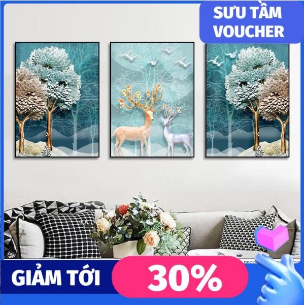 Bộ 3 tấm tranh treo tường phòng khách hiện đại Hươu 3D, Tranh treo bo viền cao cấp, In UV chống bay màu